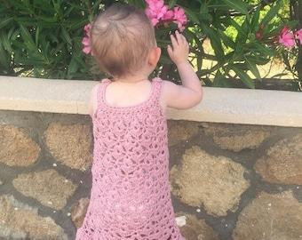 Chantilly Lace Sundress - Handmade Crochet Dress Age 12-18 Months in Pink Cotton
