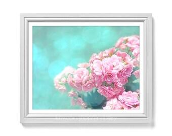 Dreamy photography Printable art Rose photography Flower photo Printable photography soft pink rose photo pink mint 11x14 print Flower print