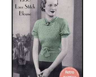 1930's Lace Sweater Vintage Knitting Pattern - Instant Download - PDF Knitting Pattern