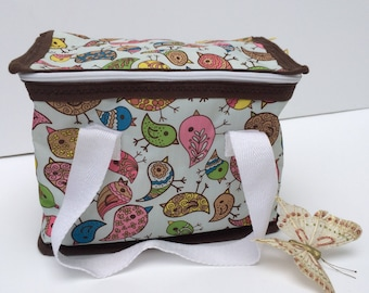 Insulated Lunch bag, birds design insulated bag, lunch tote, lunch bags for women, lunch bags for kids, lunch box