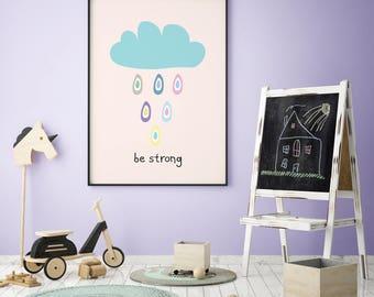 Rain Cloud, Raindrops, Cloud Nursery, Newborn Greek Gift, Print Cloud, Pastel Nursery Art, Baby Room Prints, Raindrop Nursery, Nursery Print