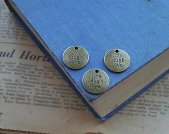 """8 pcs Antique Bronze """"Live Laugh Love"""" Charm Pendant 20mm (BC1044)"""