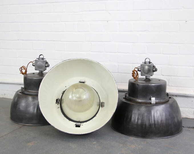 Large Industrial Aluminium & Prismatic Glass Pendant Lights