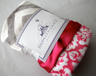 Gray and White Chevron with Hot Pink Damask Blanket, Lovie, Hot Pink Satin Trim, Girls, Baby, Nursery, Baby Bedding