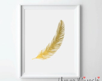 Feather I Gold Foil Print, Gold Print, Custom Print in Gold, Illustration Art Print, Gold Foil Art Print