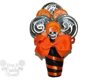 Day of the Dead Wedding Bouquet, Dia de los Muertos wedding bouquet, lollipop bouquet, day of the dead, sugar skull bouquet, halloween