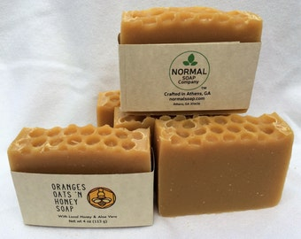 Oranges Oats 'N Honey Handmade Soap with Cocoa Butter and Avocado Oil. PALM FREE