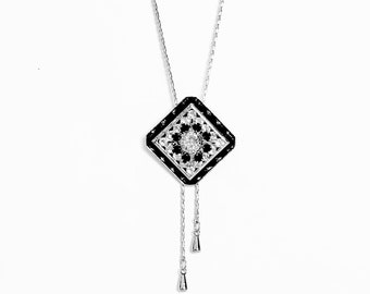Long Bolo Necklace Women, Swarovski Crystal Lariat, Silver and Black Jewelry,  Gift for Her, Adjustable Chain Necklace