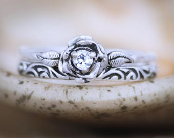 Stacking Ring Wedding Ring Set - Sterling Silver White Sapphire Engagement Ring Set with Swirl Band - Floral Bridal Set- Diamond Alternative