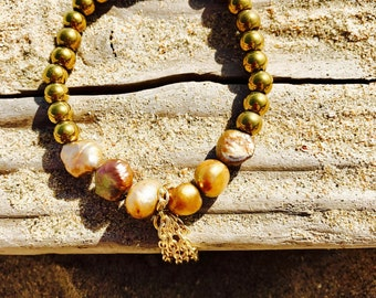 Gold beaded bracelet , stack bracelets, chain tassel charm, boho bracelet,  pearl bracelet , bracelets for women, anxiety bracelet, gift