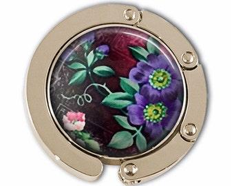Purse Hook - Purple Blossoms Photoglass Cabochon
