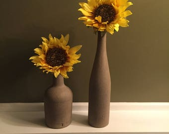 Stone textured upcycled wine bottles with sunflowers, set of two