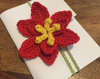 Poinsetta crochet bookmark / brooch / hair clip