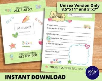 Teacher Thank You Customizable | Appreciation Gift | School Printable | Printable Gift Card | Fill in the Blank Teacher Printable - DIGITAL