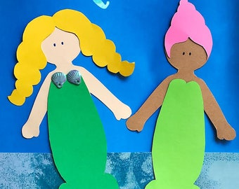 My Quiet Dolls Pattern for  Making Felt or Paper Mermaids