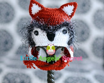 Fox Crochet Hat, Fox hat, Crochet hat, Fox photo prop, Baby fox crochet hat, baby accessories, photo prop.