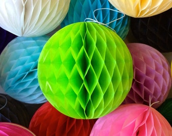 Bright Green 10 Inch Honeycomb Tissue Paper Balls - Paper Party Decor Decoration Supplies
