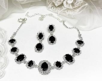 Wedding jewelry, bridesmaid jewelry set, Bridal necklace earrings, vintage inspired rhinestone bridal statement, Black crystal jewelry set