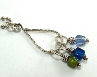 Sterling Teardrop Pendant with Multi-Colored Luster Glass Beads,  Hammered Silver Wire Wrapped Necklace