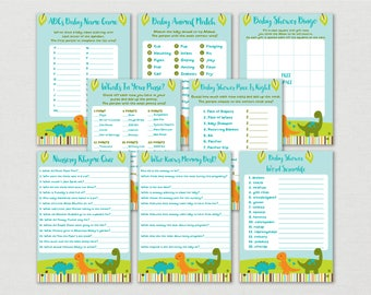 Cute Dinosaur Baby Shower Games Package / Dinosaur Baby Shower Games / Baby boy Shower / 8 Printable Games / INSTANT DOWNLOAD A173