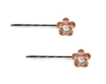 Crystal Cute Single Flower Bobby Pin PAIR Hair Clip Accessory Black Tone Light Amethyst Lavender AB Light Topaz Brown