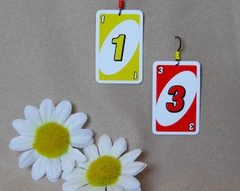 Uno! Card Game Earrings Made with Real Playing Cards - Unique Earrings for Nerdy Friend, or Quirky Earrings for Her - Playing Card Earrings