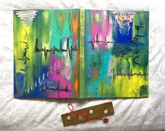 Hardbound Personalised Notebook with Unique Acrylic Painted Cover _ Handmade Stationery _ Gift for Writers _ Artists Notebook