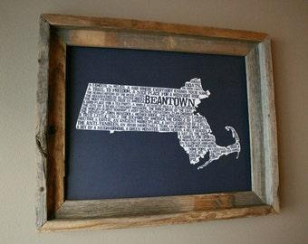 Boston In A Nutshell Word Art Map Print (Dark Blue) - Unframed