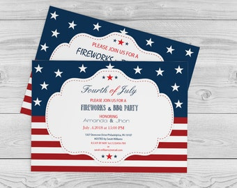 4th of July Invitation, Independence Day, BBQ/Celebration/Party Invitations Editable PDF Templates - 5 x 7 Red White Blue - DIY You Print