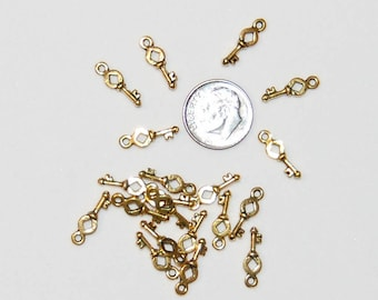 Small Key Charms Antique Gold, 50 pieces