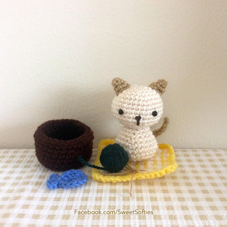 Amigurumi Crochet Pattern Animal Kitty Cat Chibi Kokeshi Doll Plush ...