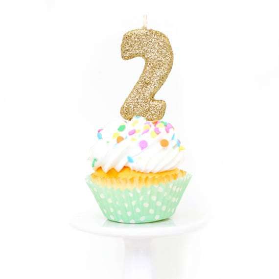 """3"""" Number 2 Candle, Giant 2 Candle, Gold Party Decor, Two Gold Candle, Birthday Candle, 2nd Birthday Candle, Giant Glitter Candle"""
