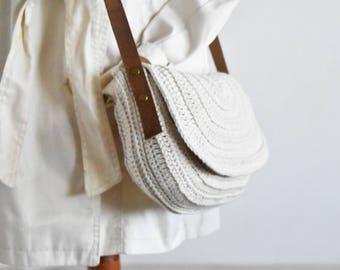 Small white crossbody bag crochet saddle purse genuine leather straps everyday bag cotton purse round messenger bag woman shoulder purse