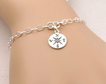 Silver Compass Bracelet, Graduation gift, Sterling Silver, Travel jewelry, Good Luck