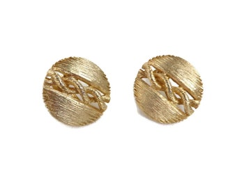 Lisner Matte Gold Button Earrings, Vintage 1960s Screwback Earrings