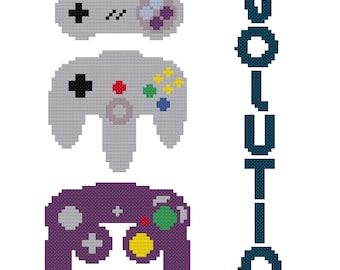 Controller Evolution Cross Stitch Pattern (PDF Instant Download)