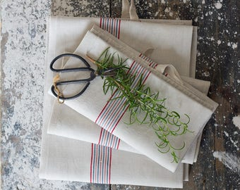 French Linen Red & Blue Pinstripe Kitchen Towel