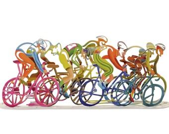 "Bicycle Sculpture, Metal Art, Bicycles ""The Race"" Table Sculpture, Home Decor, Table Decor, Metal bicycles, Wall Hanging, Metal wall art"