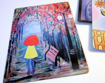 """Art Magnet Girl in the Rain 3.5"""" x 5"""""""