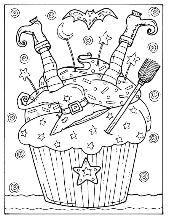 5 Pages Halloween Cupcakes To Color Instant Download Digital