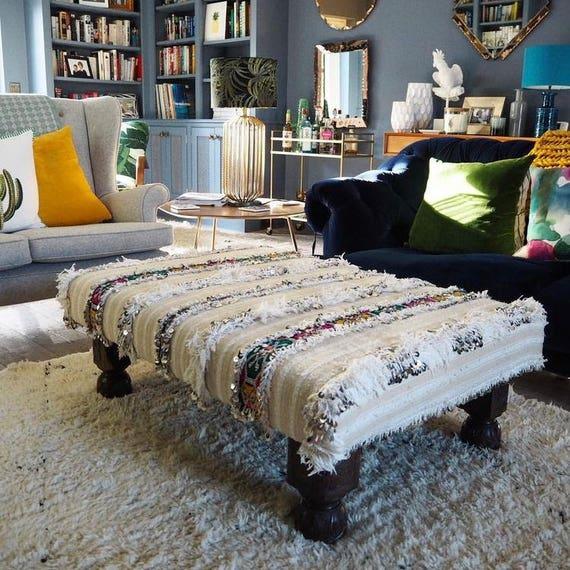 Bespoke Made to Order Custom Moroccan Wedding Blanket Antique Vintage Handira Footstool Ottoman