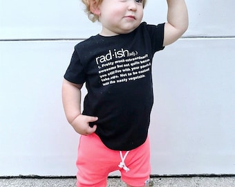 Rad-ish, Baby Shirt, Toddler Shirt | Funny Baby Clothes | Graphic Tee | Baby Boy Clothes | Kids Graphic Tee | Tshirt | Baby Graphic Tee