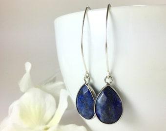 Lapis Earrings Silver Lapis Earrings Gemstone Earrings Lapis Jewelry Lapis Lazuli Earrings Blue Earrings Everyday Earrings Gift Idea