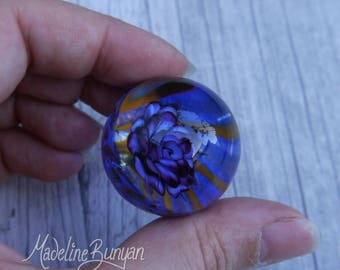 Everlasting Purple Rose in Vortex Marble, unusual gift, collectible glass art, sphere, lampwork, flower, implosion
