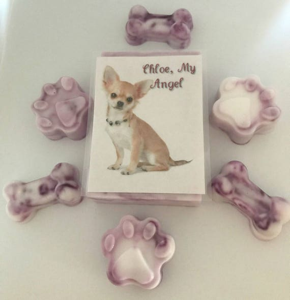 Personalized Photo Picture ~Lavender Purple Peppermint~ Handmade People & Dog Paw, Bone and Bar Soap Gift Set by Mom and Me Pet Soaps TM