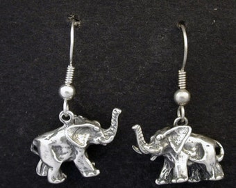 Sterling Silver Elephant Earrings on Sterling Silver French Wires