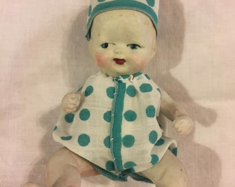 """Antique wee bisque baby doll 6"""" tall"""
