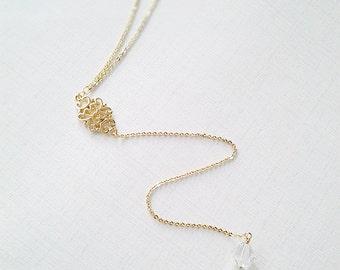 Silver or Gold Bridal Back Drop Necklace crystal backless wedding dress low open back dress bride bridal jewelry bridesmaid jewelry gift