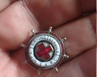 Flash 50% off sale Vintage American Red Cross Life Saving Service Pin