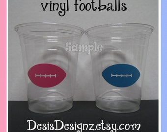 24 Gender reveal Football vinyl decals 12 oz. 16 oz or 20 oz. clear party cups Baby shower decorations girl boy sprinkle party vinyl